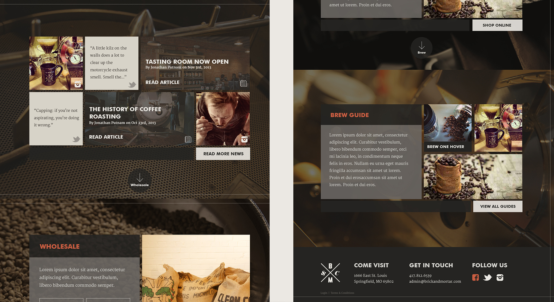 Brick & Mortar Coffee Branding - Website