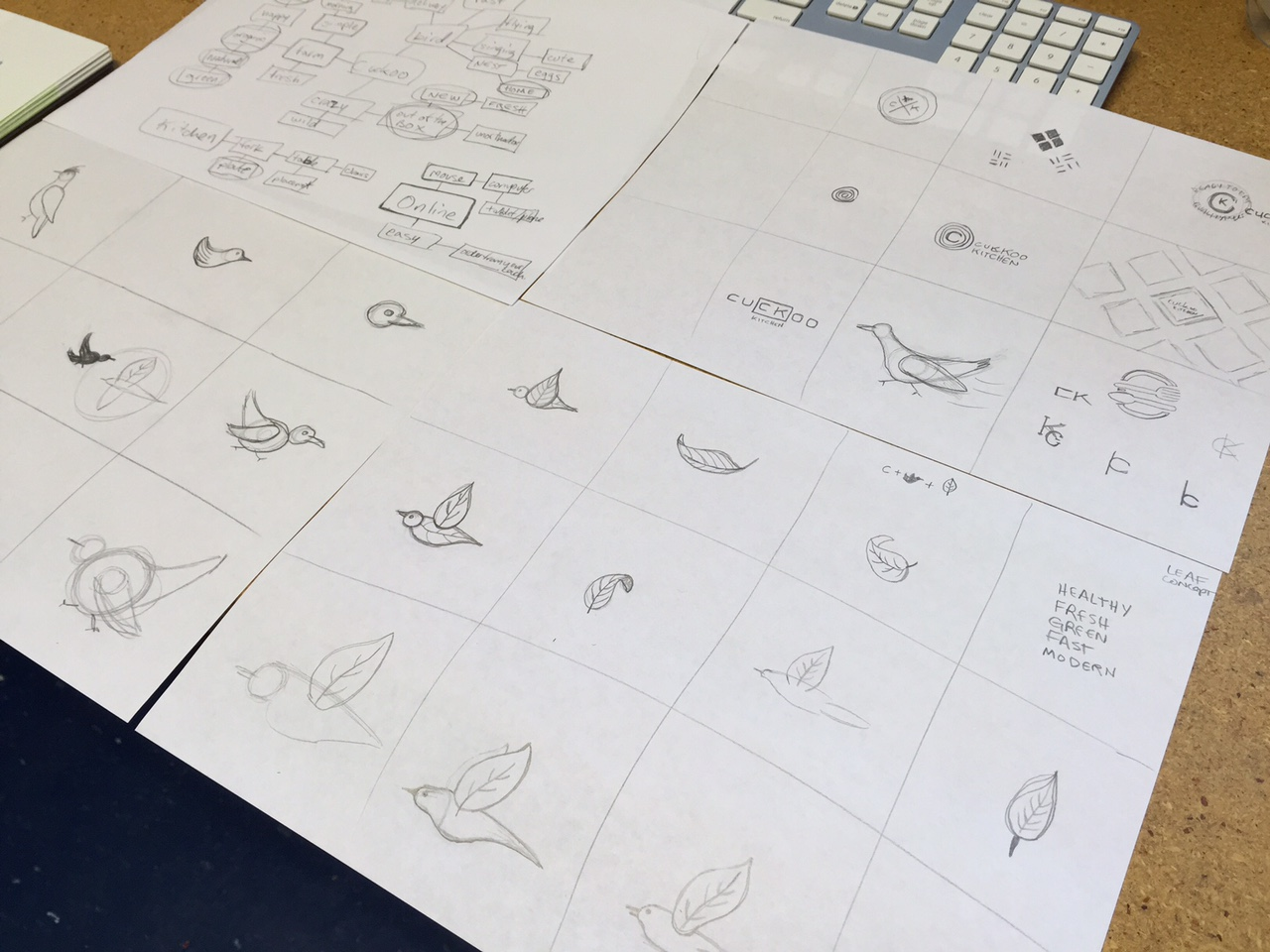 logo sketches for cuckoo kitchen