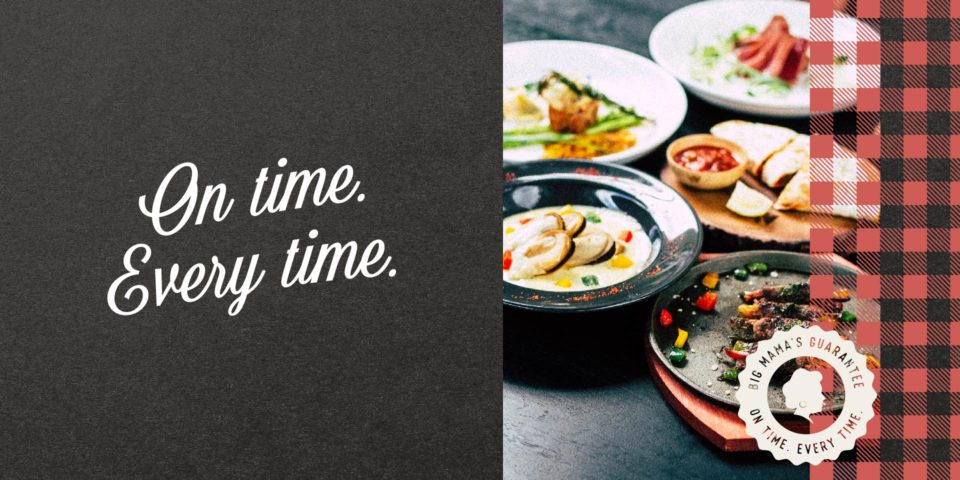 Catering business branding, logo, and image.