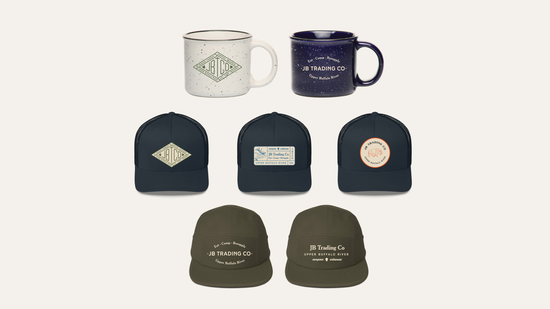 Hats & Mugs for JB Trading Co by Longitude Branding