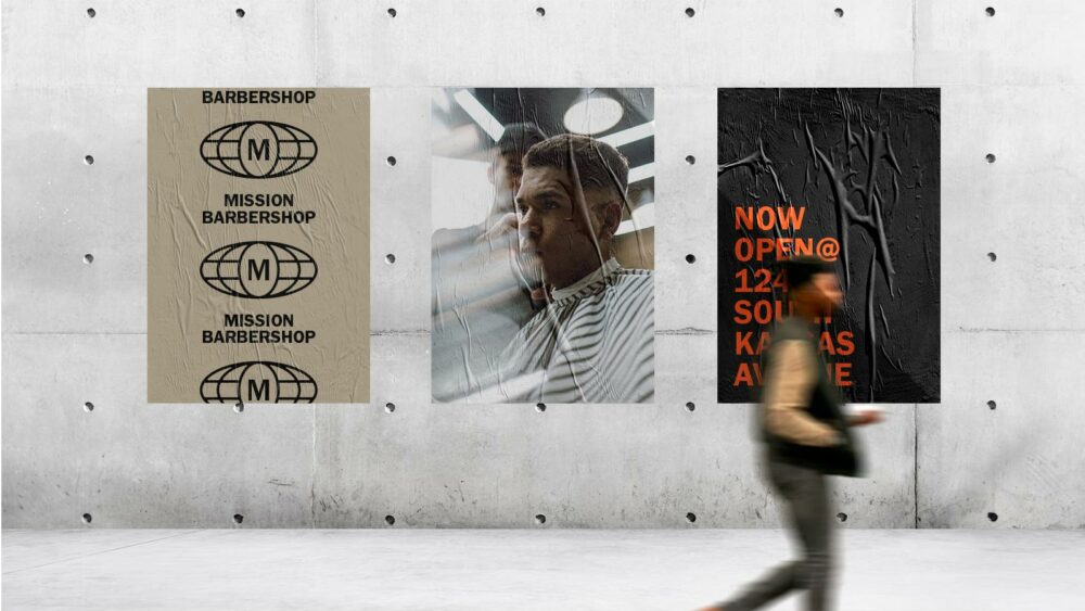 barber shop branding and poster designs on a wall