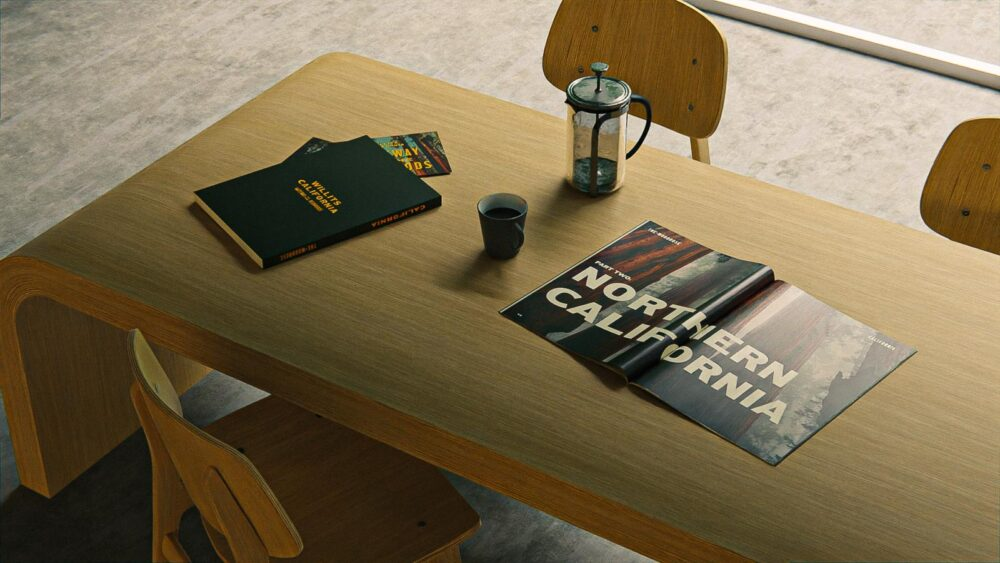 motel branding books on table