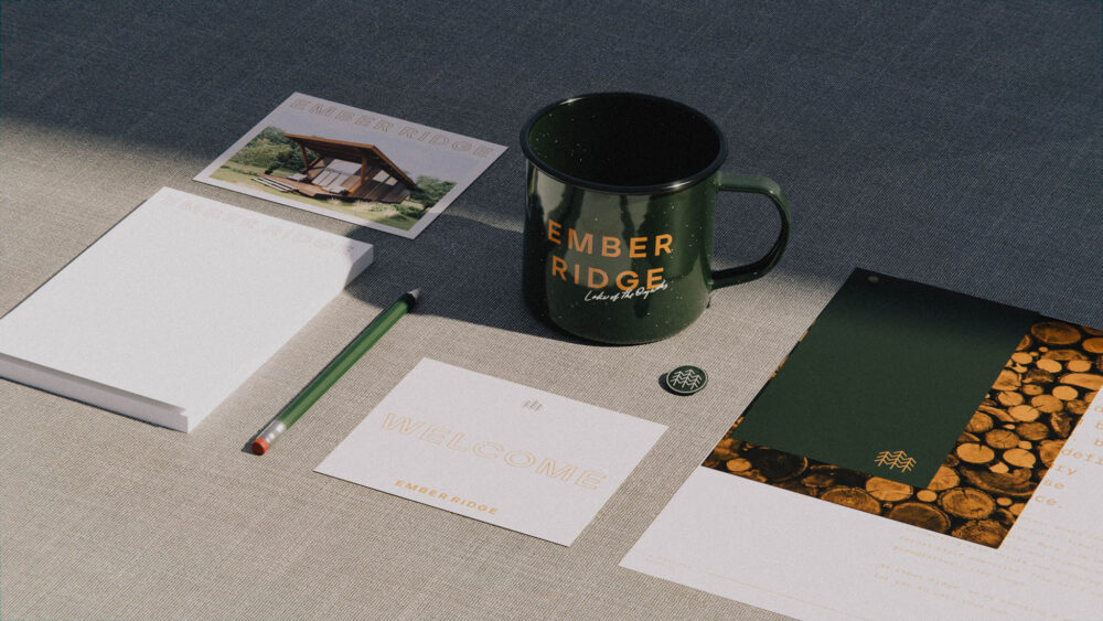 luxury resort branding with stationery and coffee mug